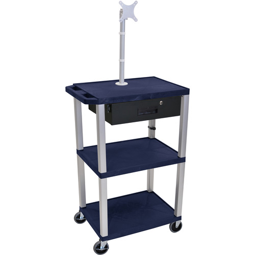 "Luxor 42"" A/V Cart with Monitor Mount, 3 Shelves, Locking Drawer & Electric Assembly (Navy)"