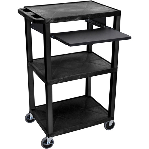 "Luxor 42"" A/V Cart with 3 Shelves, Pull-Out Keyboard Tray (Black Shelves, Black Legs)"