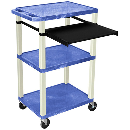 "Luxor 42"" A/V Cart with 3 Shelves, Pull-Out Keyboard Tray (Blue Shelves, Putty Legs)"