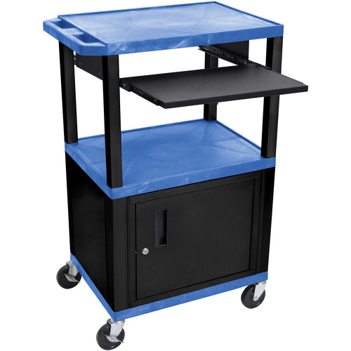 "Luxor 42"" A/V Cart with 3 Shelves, Pull-Out Keyboard Tray, Cabinet and Electric Assembly (Blue Shelves, Black Legs)"