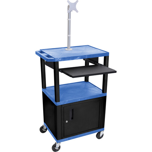 "Luxor 42"" A/V Cart with Monitor Mount, 3 Shelves, Pull-Out Keyboard Tray, Cabinet and Electric Assembly (Blue Shelves, Black Legs)"