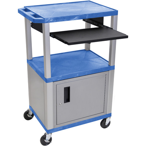 "Luxor 42"" A/V Cart with 3 Shelves, Pull-Out Keyboard Tray, Cabinet and Electric Assembly (Blue Shelves, Nickel Legs)"