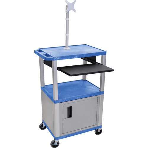 "Luxor 42"" A/V Cart with Monitor Mount, 3 Shelves, Cabinet, Pull-Out Keyboard Tray and Electric Assembly (Blue Shelves, Nickel Legs)"