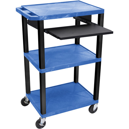 "Luxor 42"" A/V Cart with 3 Shelves, Pull-Out Keyboard Tray and Electric Assembly (Blue Shelves, Black Legs)"