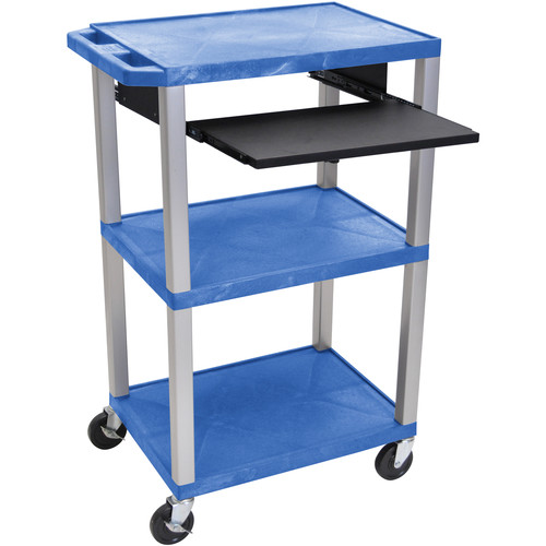 "Luxor 42"" A/V Cart with 3 Shelves, Pull-Out Keyboard Tray, and Electric Assembly (Blue Shelves, Nickel Legs)"