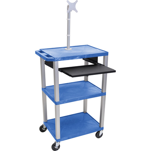 "Luxor 42"" A/V Cart with Monitor Mount, 3 Shelves, Pull-Out Keyboard Tray and Electric Assembly (Blue Shelves, Nickel Legs)"
