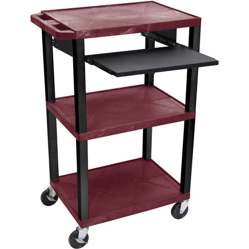 "Luxor 42"" A/V Cart with 3 Shelves, Pull-Out Keyboard Tray (Burgundy Shelves, Black Legs)"
