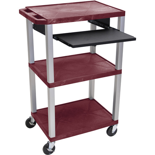 "Luxor 42"" A/V Cart with 3 Shelves, Pull-Out Keyboard Tray, (Burgundy Shelves, Nickel Legs)"