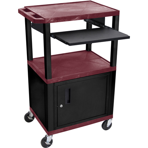 "Luxor 42"" A/V Cart with 3 Shelves, Pull-Out Keyboard Tray, Cabinet and Electric Assembly (Burgundy Shelves, Black Legs)"
