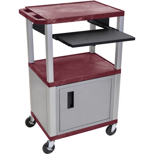 "Luxor 42"" A/V Cart with 3 Shelves, Pull-Out Keyboard Tray, Cabinet and Electric Assembly (Burgundy Shelves, Nickel Legs)"