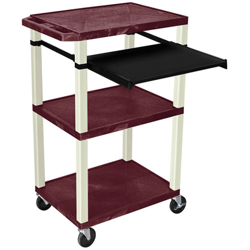 "Luxor 42"" A/V Cart with 3 Shelves, Pull-Out Keyboard Tray, and Electrical Assembly (Burgundy Shelves, Putty Legs)"