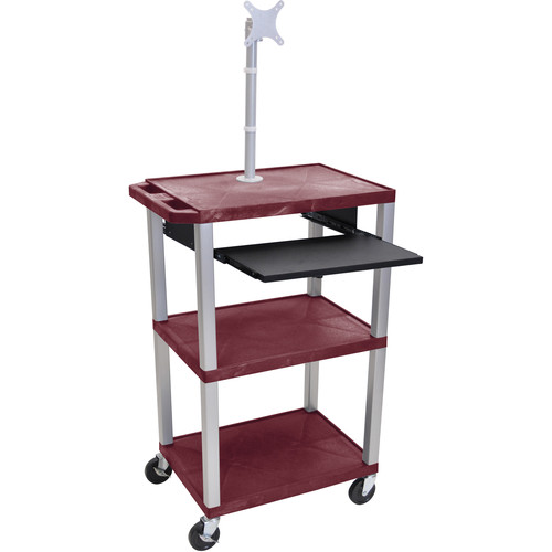 "Luxor 42"" A/V Cart with Monitor Mount, 3 Shelves, Pull-Out Keyboard Tray and Electric Assembly (Burgundy Shelves, Nickel Legs)"