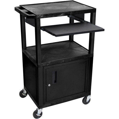 "Luxor 42"" A/V Cart with 3 Shelves, Pull-Out Keyboard Tray, Cabinet and Electric Assembly (Black Shelves, Black Legs)"