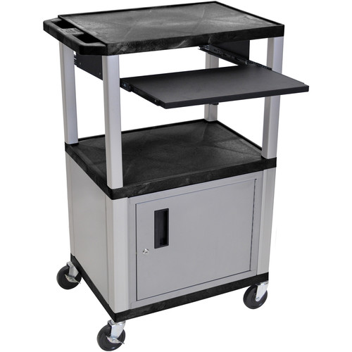 """Luxor 42"""" A/V Cart with 3 Shelves, Pull-Out Keyboard Tray, Cabinet (Black Shelves, Nickel Legs)"""