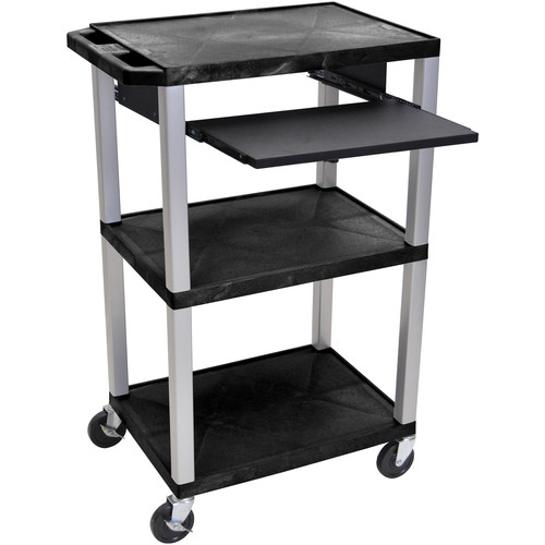 "Luxor 42"" A/V Cart with 3 Shelves, Pull-Out Keyboard Tray, and Electric Assembly (Black Shelves, Nickel Legs)"