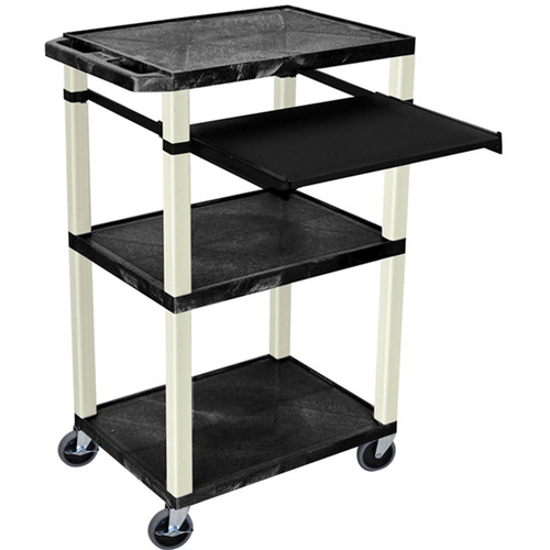 """Luxor 42"""" A/V Cart with 3 Shelves, Pull-Out Keyboard Tray, and Electrical Assembly (Black Shelves, Putty Legs)"""