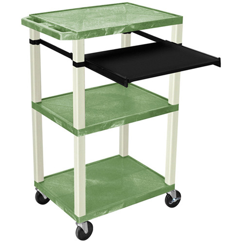 "Luxor 42"" A/V Cart with 3 Shelves, Pull-Out Keyboard Tray (Green Shelves, Putty Legs)"