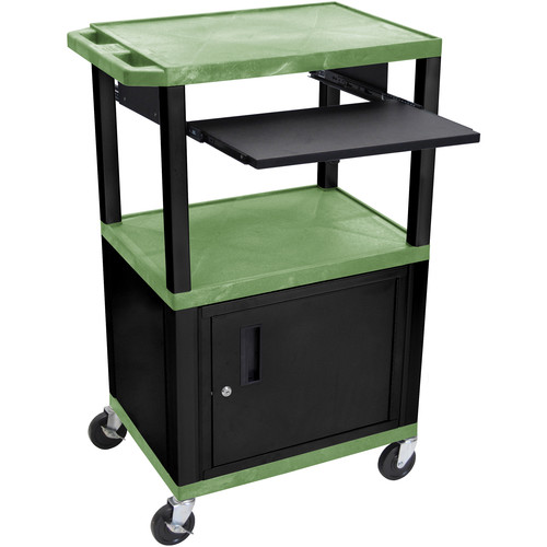 "Luxor 42"" A/V Cart with 3 Shelves, Pull-Out Keyboard Tray, Cabinet and Electric Assembly (Green Shelves, Black Legs)"