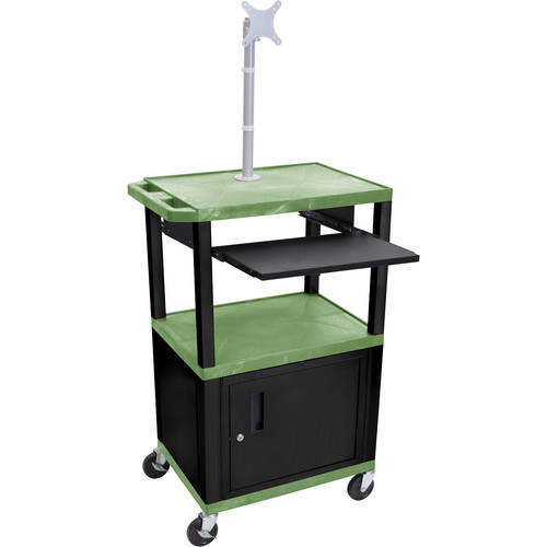 "Luxor 42"" A/V Cart with Monitor Mount, 3 Shelves, Pull-Out Keyboard Tray, Cabinet and Electric Assembly (Green Shelves, Black Legs)"
