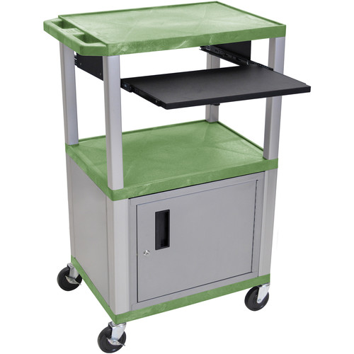 "Luxor 42"" A/V Cart with 3 Shelves, Pull-Out Keyboard Tray, Cabinet and Electric Assembly (Green Shelves, Nickel Legs)"