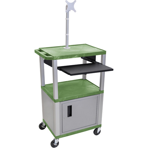 "Luxor 42"" A/V Cart with Monitor Mount, 3 Shelves, Cabinet, Pull-Out Keyboard Tray and Electric Assembly (Green Shelves, Nickel Legs)"