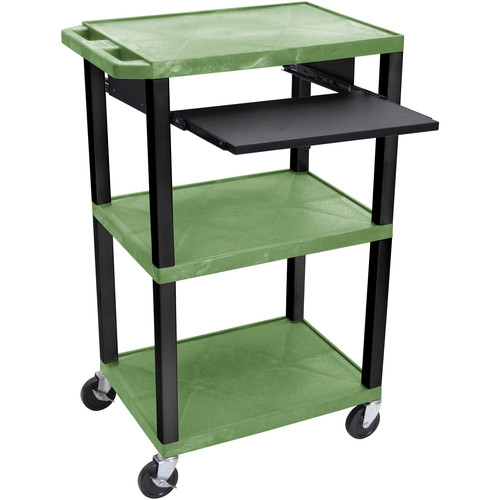 "Luxor 42"" A/V Cart with 3 Shelves, Pull-Out Keyboard Tray and Electric Assembly (Green Shelves, Black Legs)"