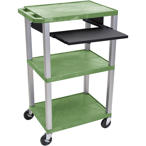 "Luxor 42"" A/V Cart with 3 Shelves, Pull-Out Keyboard Tray, and Electric Assembly (Green Shelves, Nickel Legs)"