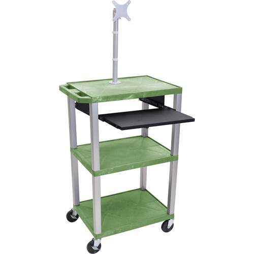 "Luxor 42"" A/V Cart with Monitor Mount, 3 Shelves, Pull-Out Keyboard Tray and Electric Assembly (Green Shelves, Nickel Legs)"
