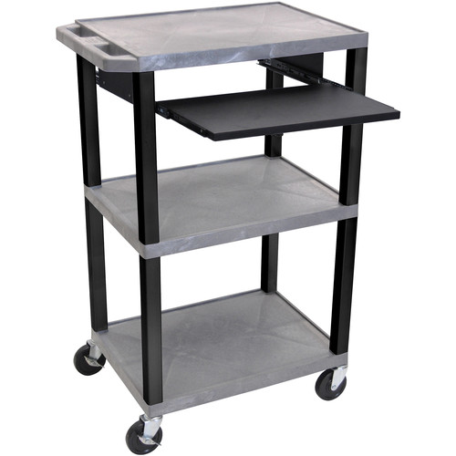 """Luxor 42"""" A/V Cart with 3 Shelves, Pull-Out Keyboard Tray (Gray Shelves, Black Legs)"""
