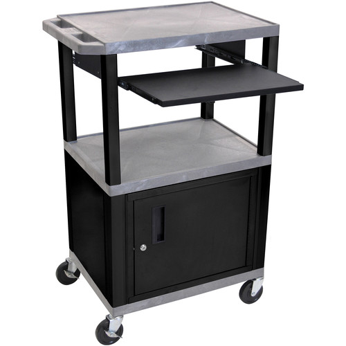 "Luxor 42"" A/V Cart with 3 Shelves, Pull-Out Keyboard Tray, Cabinet and Electric Assembly (Gray Shelves, Black Legs)"