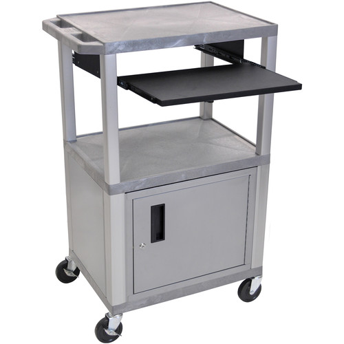"Luxor 42"" A/V Cart with 3 Shelves, Pull-Out Keyboard Tray, Cabinet (Gray Shelves, Nickel Legs)"