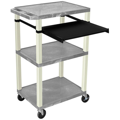 """Luxor 42"""" A/V Cart with 3 Shelves, Pull-Out Keyboard Tray, and Electrical Assembly (Gray Shelves, Putty Legs)"""