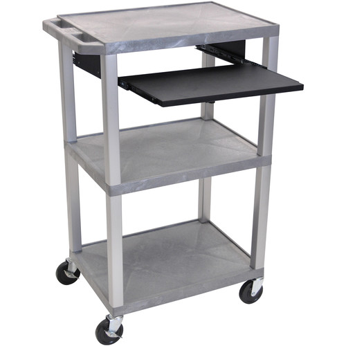 "Luxor 42"" A/V Cart with 3 Shelves, Pull-Out Keyboard Tray, and Electric Assembly (Gray Shelves, Nickel Legs)"