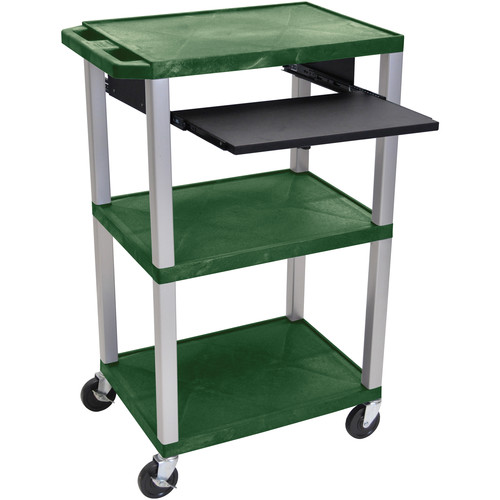 "Luxor 42"" A/V Cart with 3 Shelves, Pull-Out Keyboard Tray, (Hunter Green Shelves, Nickel Legs)"