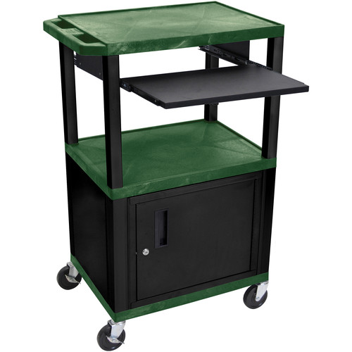 "Luxor 42"" A/V Cart with 3 Shelves, Pull-Out Keyboard Tray, Cabinet and Electric Assembly (Hunter Green Shelves, Black Legs)"