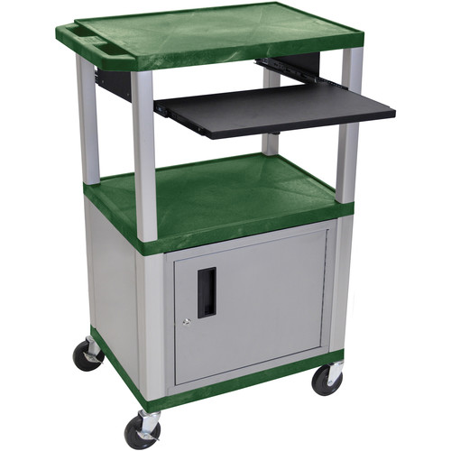 "Luxor 42"" A/V Cart with 3 Shelves, Pull-Out Keyboard Tray, Cabinet (Hunter Green Shelves, Nickel Legs)"