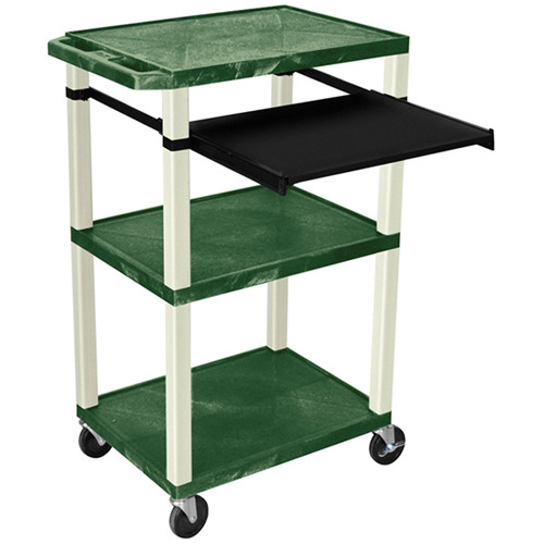 """Luxor 42"""" A/V Cart with 3 Shelves, Pull-Out Keyboard Tray, and Electrical Assembly (Hunter Green Shelves, Putty Legs)"""