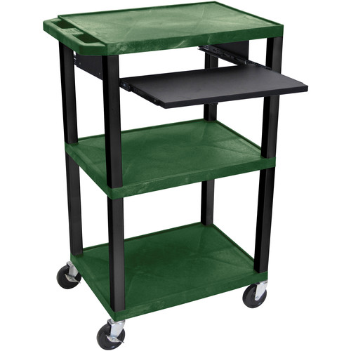 "Luxor 42"" A/V Cart with 3 Shelves, Pull-Out Keyboard Tray and Electric Assembly (Hunter Green Shelves, Black Legs)"