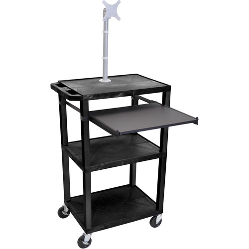 "Luxor 42"" A/V Cart with Monitor Mount, 3 Shelves, Pull-Out Keyboard Tray, and Electric Assembly (Black Shelves, Black Legs)"