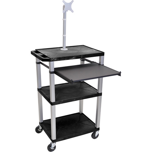 "Luxor 42"" A/V Cart with Monitor Mount, 3 Shelves, Pull-Out Keyboard Tray and Electric Assembly (Black Shelves, Nickel Legs)"