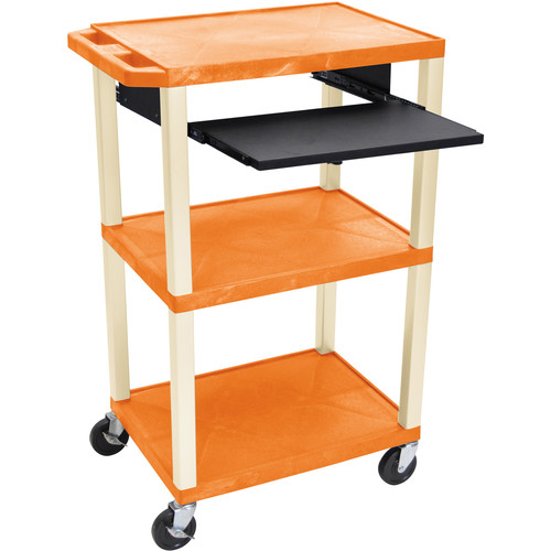 "Luxor 42"" A/V Cart with 3 Shelves, Pull-Out Keyboard Tray (Orange Shelves, Putty Legs)"