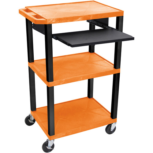 """Luxor 42"""" A/V Cart with 3 Shelves, Pull-Out Keyboard Tray (Orange Shelves, Black Legs)"""