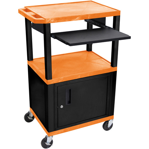 """Luxor 42"""" A/V Cart with 3 Shelves, Pull-Out Keyboard Tray, Cabinet and Electric Assembly (Orange Shelves, Black Legs)"""