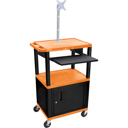 "Luxor 42"" A/V Cart with Monitor Mount, 3 Shelves, Pull-Out Keyboard Tray, Cabinet and Electric Assembly (Orange Shelves, Black Legs)"