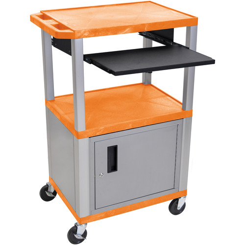 "Luxor 42"" A/V Cart with 3 Shelves, Pull-Out Keyboard Tray, Cabinet and Electric Assembly (Orange Shelves, Nickel Legs)"
