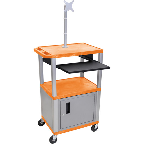 "Luxor 42"" A/V Cart with Monitor Mount, 3 Shelves, Cabinet, Pull-Out Keyboard Tray and Electric Assembly (Orange Shelves, Nickel Legs)"
