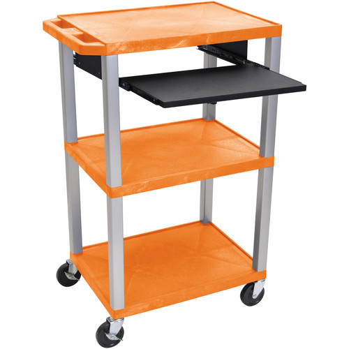"Luxor 42"" A/V Cart with 3 Shelves, Pull-Out Keyboard Tray, and Electric Assembly (Orange Shelves, Nickel Legs)"