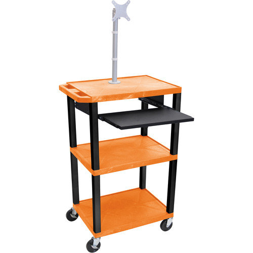 "Luxor 42"" A/V Cart with Monitor Mount, 3 Shelves, Pull-Out Keyboard Tray, and Electric Assembly (Orange Shelves, Black Legs)"