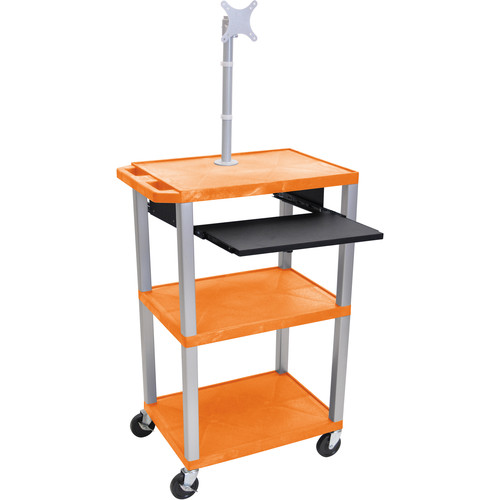 "Luxor 42"" A/V Cart with Monitor Mount, 3 Shelves, Pull-Out Keyboard Tray and Electric Assembly (Orange Shelves, Nickel Legs)"