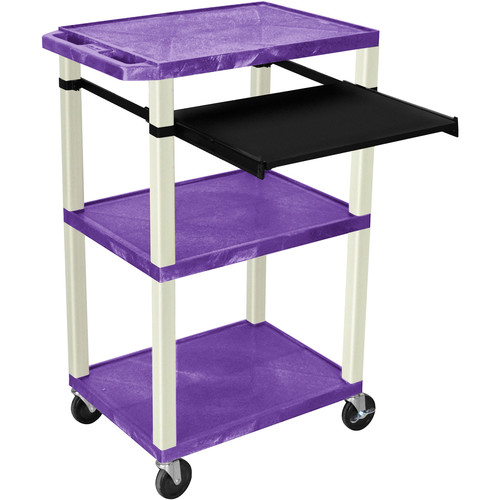 "Luxor 42"" A/V Cart with 3 Shelves, Pull-Out Keyboard Tray (Purple Shelves, Putty Legs)"